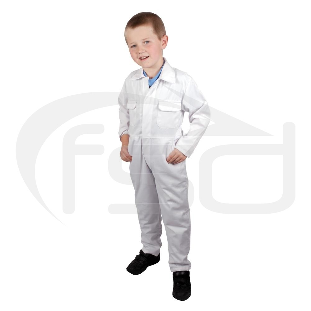 """Clearance Kids White Coveralls (Size 34""""/12-13 years) - Brand New - Shop soiled, will probably be fine with a quick wash"""