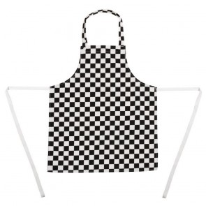 Childrens Bib Apron Big Black and White Check