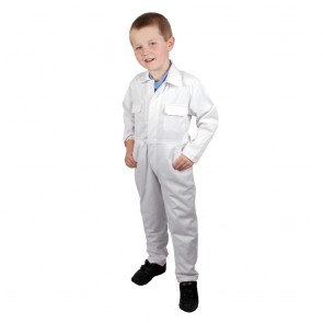 "Clearance Kids White Coveralls (Size 34""/12-13 years) - Brand New - Shop soiled, will probably be fine with a quick wash"
